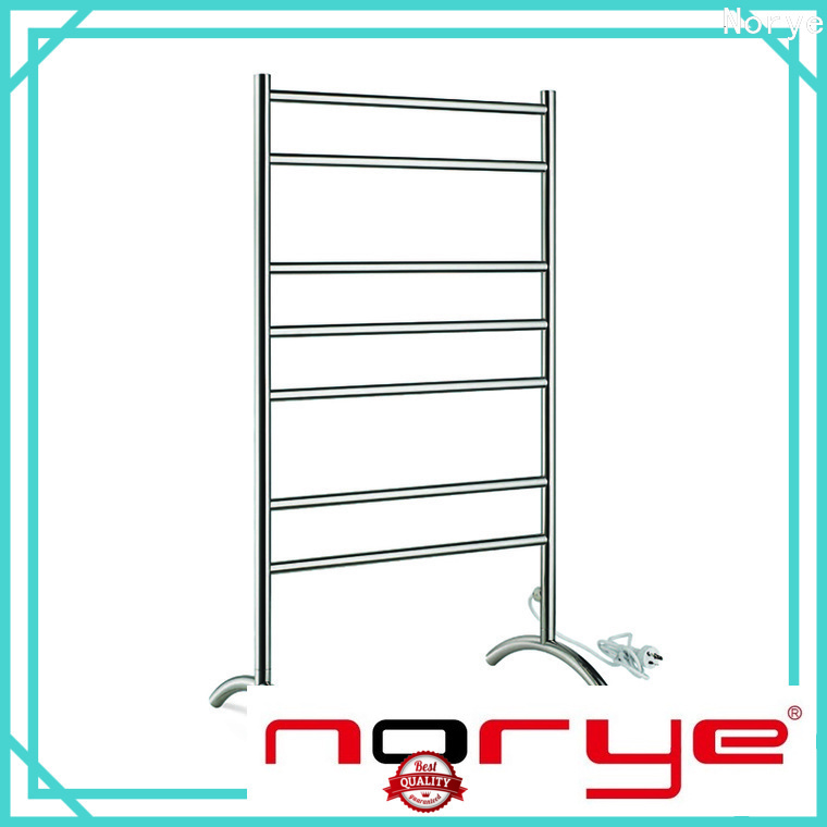 Norye chrome curved electric towel rail supplier for bathroom