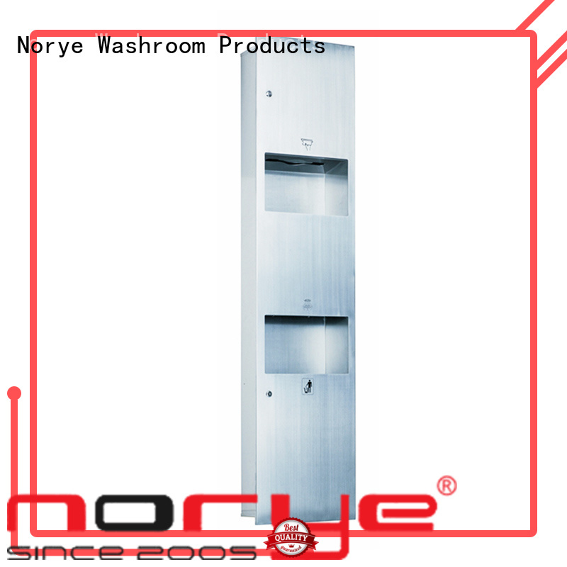 Norye hygienic paper towel dispenser with waste receptacle for lavatory