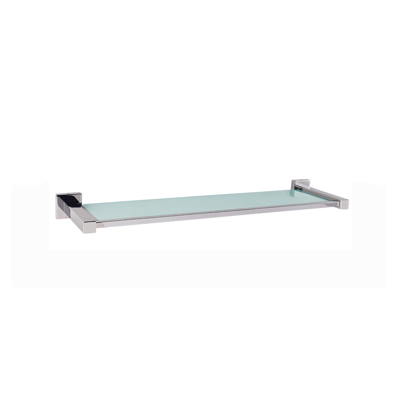 Square base Glass Bathroom Wall Shelves in Stainless JD03