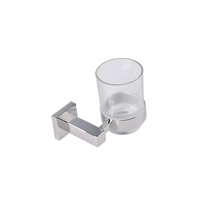 Bathroom Square Chrome Single Cup Holder Set Wall Mounted JD09