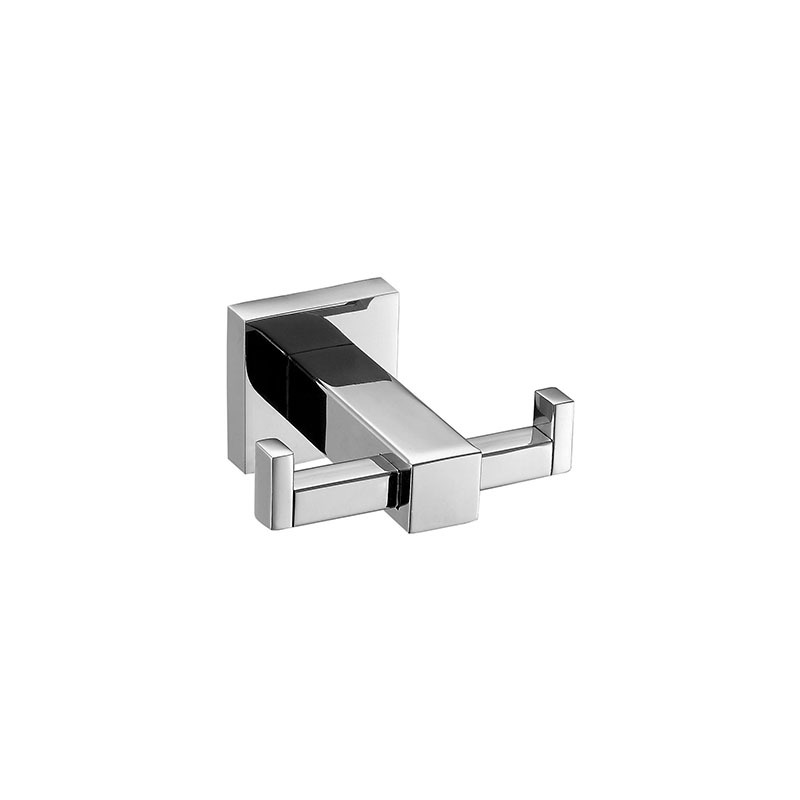 Stainless Steel Wall Mounted Bathroom Double Hook with Square Base JD11