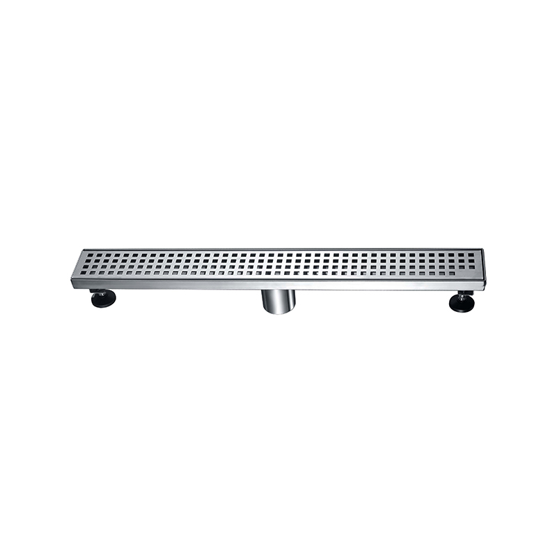 Stainless Steel 304 Floor Drain for Shower, Square Pattern Grate, Center Outlet ZLB-01