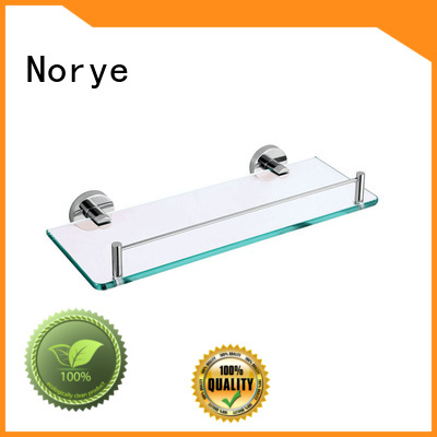 Norye wall mounted glass shelf with square base for bathroom